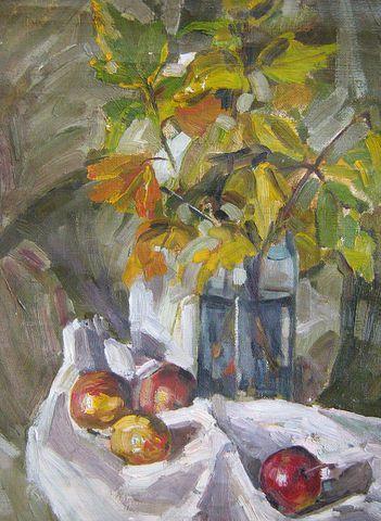 Е.Косова Натюрморт с яблоками холст.масло 1987г.