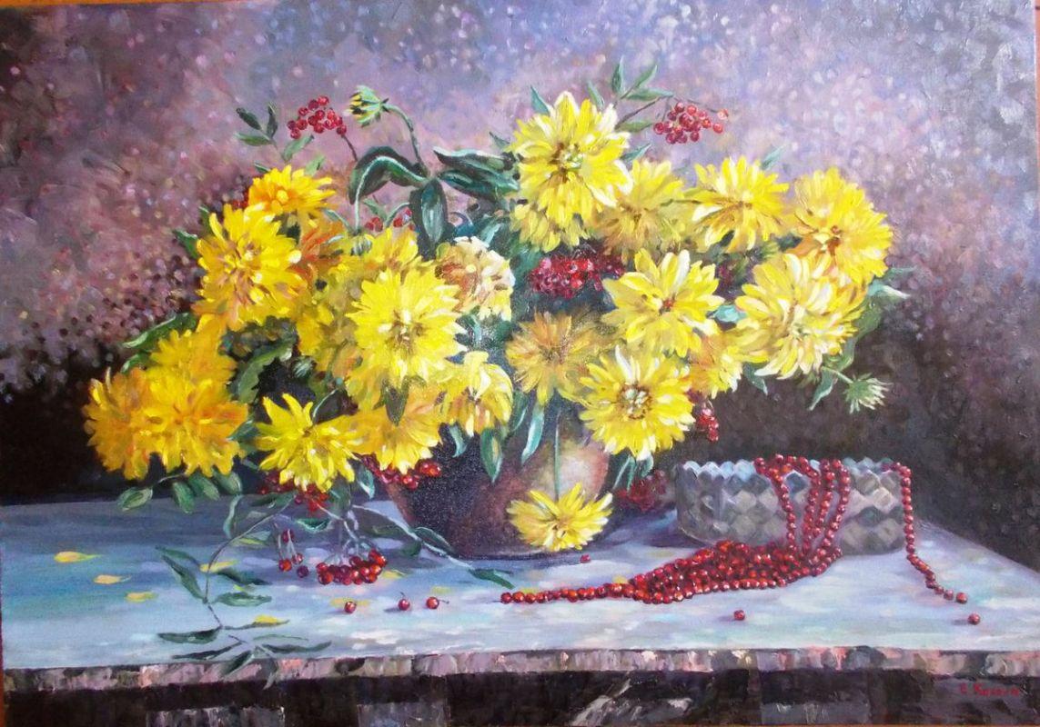 Е.Косова Жёлтые цветы х.м.50Х70 2019г.