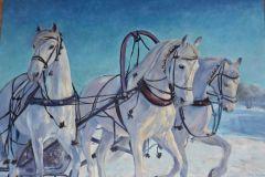 Е.Косова Три белых коня х.м.50Х70 2020г.